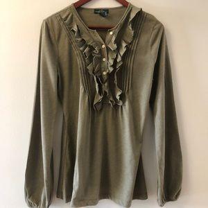 3/$30: LRL Olive Green Long Sleeve Top w/ Ruffle